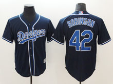 Mens Majestic Los Angeles Dodgers #42 Ackie Robinson Navy Cool Base Jersey