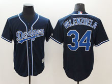 Mens Majestic Los Angeles Dodgers #34 Fernando Valenzuela Navy Cool Base Jersey