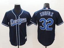 Mens Majestic Los Angeles Dodgers #32 Sandy Koufax Navy Cool Base Jersey
