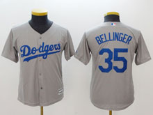 Youth Mlb Los Angeles Dodgers #35 Cody Bellinger Gray Cool Base Jersey