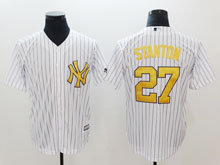 Mens Mlb New York Yankees #27 Giancarlo Stanton White Gold Numbers Cool Base Jersey