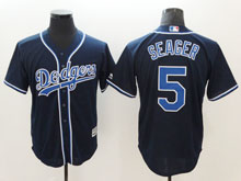 Mens Majestic Los Angeles Dodgers #5 Corey Seager Navy Cool Base Jersey
