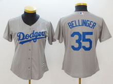 Women Mlb Los Angeles Dodgers #35 Cody Bellinger Grey Cool Base Jersey