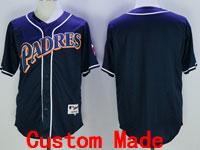 Mens Majestic Mlb San Diego Padres Custom Made Orange Number Blue Cool Base Jersey