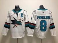 Mens Nhl San Jose Sharks #8 Joe Pavelski (c) Patch White Adidas Jersey