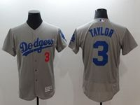 Mens Mlb Los Angeles Dodgers #3 Chris Taylor Gray Flex Base Jersey