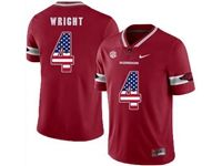 Mens Nike Ncaa Arkansas Razorbacks #4 Wright Red (usa Flag Number) Jersey