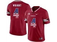 Mens Nike Ncaa Arkansas Razorbacks #4 Wright Red (usa Flag Number) Jersey