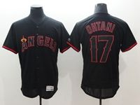 Mens Mlb Los Angeles Angels #17 Shohei Ohtani Black Pullover Flex Base Jersey