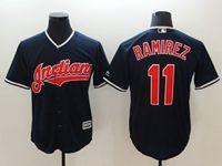 Mens Mlb Cleveland Indians #11 Jose Ramirez Dark Blue Cool Base Jersey