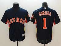 Mens Mlb Houston Astros #1 Carlos Correa Majestic Navy Flex Base Jersey