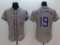 Mens Majestic Colorado Rockies #19 Charlie Blackmon Gray Flex Base Jersey