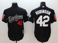 Mens Majestic Los Angeles Dodgers #42 Ackie Robinson Black Cool Base Throwbacks Jersey