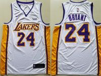 Mens Nba Los Angeles Lakers #24 Kobe Bryant White Wish Nike Swingman Jersey
