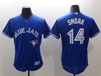 Mens Mlb New York Yankees #14 Justin Smoak Blue Flex Base Jersey