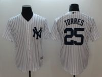 Mens Mlb New York Yankees #25 Gleyber Torres White Cool Base Jersey