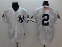 Mens Majestic New York Yankees #2 Derek Jeter White 2001 Throwback Cool Base Jersey