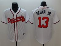 Mens Majestic Mlb Atlanta Braves #13 Ronald Acuña Jr. White Cool Base Player Jersey