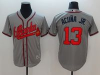 Mens Majestic Mlb Atlanta Braves #13 Ronald Acuña Jr. Gray Cool Base Player Jersey
