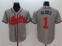 Mens Majestic Mlb Atlanta Braves #1 Albies Gray Cool Base Player Jersey