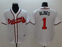 Mens Majestic Mlb Atlanta Braves #1 Albies White Cool Base Player Jersey