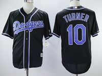 Mens Mlb Majestic Los Angeles Dodgers #10 Justin Turner New Black Cool Base Jersey