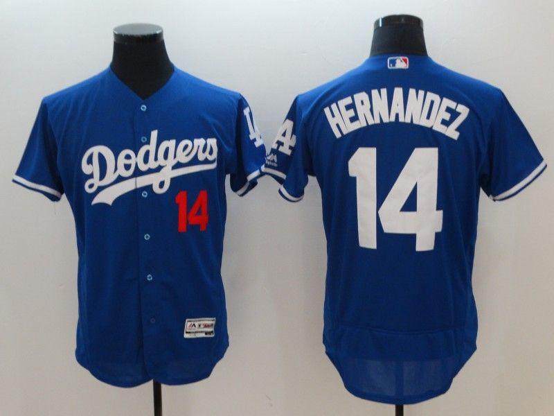 Mens Mlb Los Angeles Dodgers #14 Enrique Hernandez Blue Flex Base Player Jersey