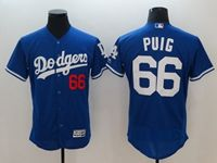 Mens Mlb Los Angeles Dodgers #66 Yasiel Puig Blue Flex Base Player Jersey