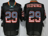 Mens Nfl Miami Dolphins #29 Minkah Fitzpatrick Esch Black Usa Flag Fashion Elite Jersey