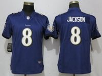 Women Nfl Baltimore Ravens #8 Lamar Jackson Purple Vapor Untouchable Limited Player Jersey