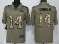 Mens Nfl New York Jets #14 Sam Darnold Green Olive Camo Carson 2017 Salute To Service Limited Jersey