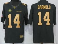 Mens Nfl New York Jets #14 Sam Darnold Gold Anthracite Salute To Service Nike Limited Jersey