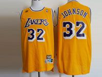 Mens Nba Los Angeles Lakers #32 Magic Johnson Gold Hardwood Classics Jersey
