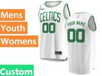 Mens Women Youth Nba Boston Celtics Boston Custom Made White Nike Jersey