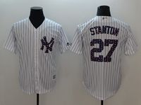 Mens Mlb New York Yankees #27 Giancarlo Stanton White 2018 Stars & Stripes Cool Base Player Jersey