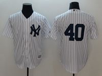 Mens Mlb New York Yankees #40 Wang White Cool Base Jersey (no Name)