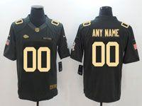 Mens Nfl Kansas City Chiefs Custom Made Black Gold Number Salute To Service Jersey