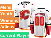 Mens Women Youth Adidas Calgary Flames White Away Current Player Jersey