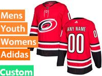 Mens Women Youth Nhl Carolina Hurricanes Custom Made Red Home Adidas Jersey
