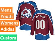 Mens Women Youth Adidas Colorado Avalanche Custom Made Red Home Jersey