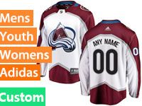 Mens Women Youth Adidas Colorado Avalanche Custom Made White Away Jersey