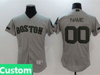 Mens Mlb Majestic Boston Red Sox Custom Made Gray 2017 Memorial Day Flex Base Jersey