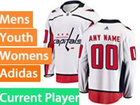 Mens Women Youth Adidas Washington Capitals White Away Current Player Jersey