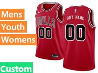 Mens Women Youth Nba Chicago Bulls Custom Made Nike Icon Edition Red Jersey