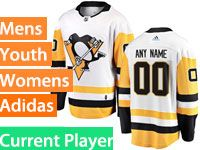 Mens Women Youth Adidas Pittsburgh Penguins White Away Current Player Jersey