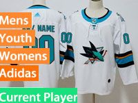 Mens Women Youth Adidas San Jose Sharks White Away Current Player Jersey
