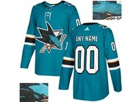 Mens Adidas San Jose Sharks Green Rhinestones Home Current Player Jersey