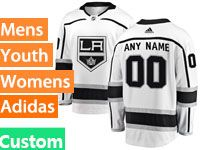 Mens Womens Youth Adidas Los Angeles Kings Custom Made White Jersey