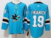 Menssan Jose Sharks #19 Joe Thornton Blue Home Adidas Jersey
