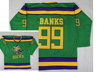 Mens Nhl Anaheim Mighty Ducks #99 Banks Green Movie Jersey